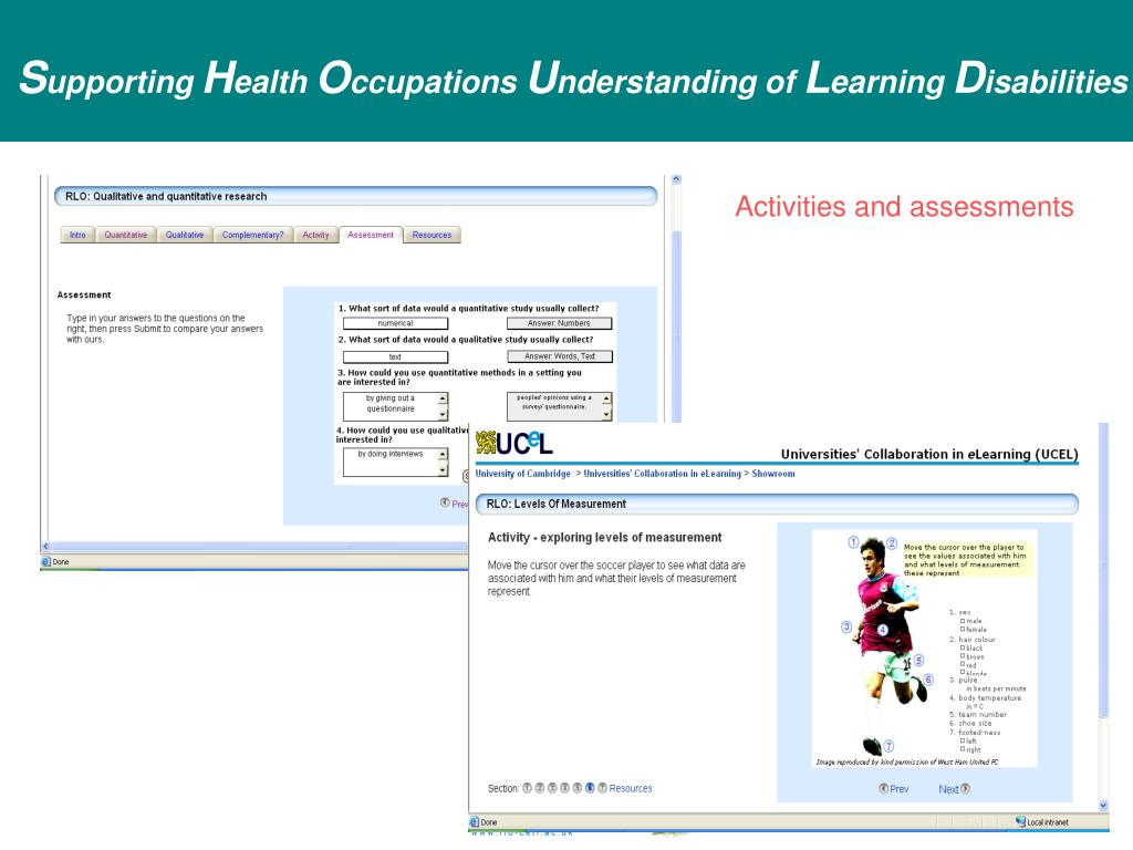 Activities and assessments