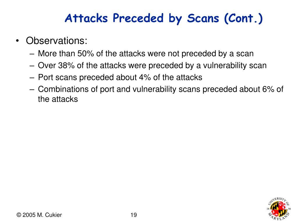 Attacks Preceded by Scans (Cont.)