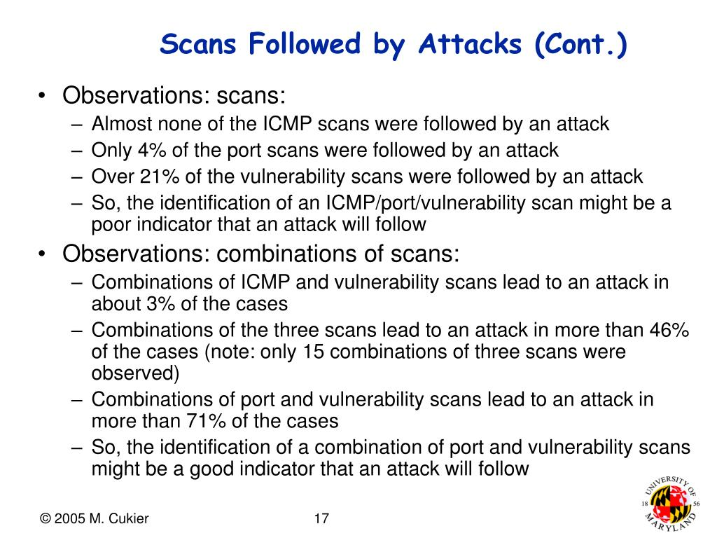 Scans Followed by Attacks (Cont.)