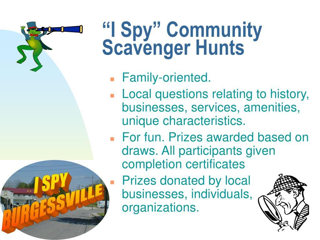 """I Spy"" Community Scavenger Hunts"