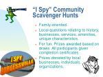 i spy community scavenger hunts