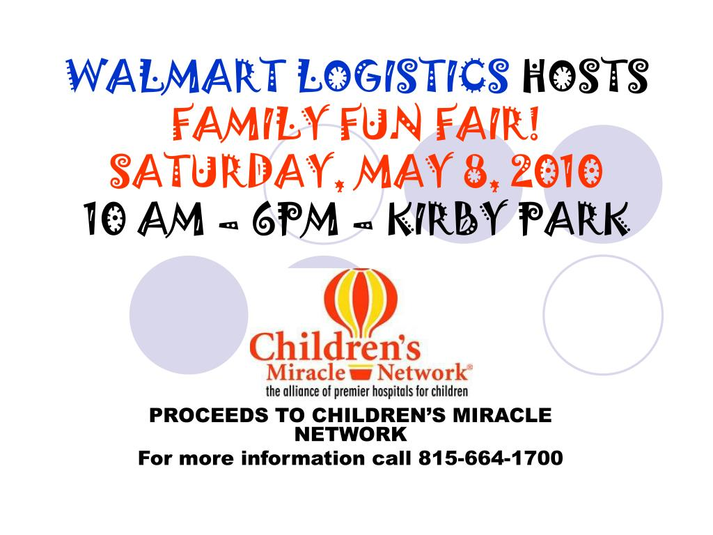 walmart logistics hosts family fun fair saturday may 8 2010 10 am 6pm kirby park l.