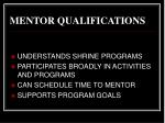 mentor qualifications