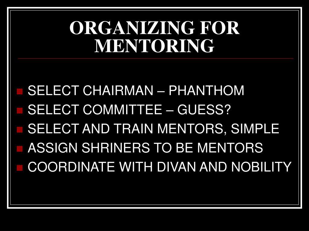 ORGANIZING FOR MENTORING
