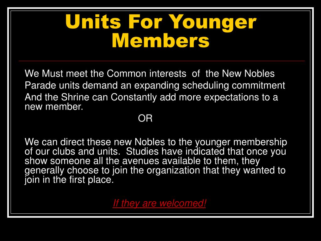Units For Younger Members