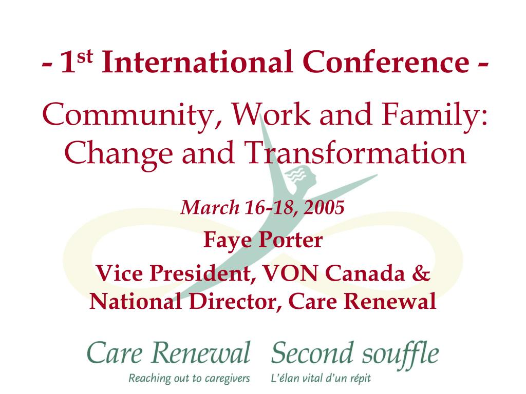 1 st international conference community work and family change and transformation l.