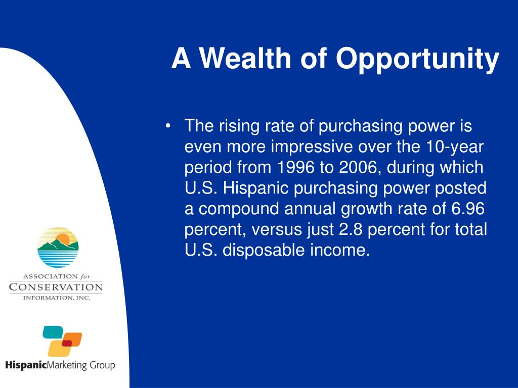 The rising rate of purchasing power is even more impressive over the 10-year period from 1996 to 2006, during which U.S. Hispanic purchasing power posted a compound annual growth rate of 6.96 percent, versus just 2.8 percent for total U.S. disposable income.