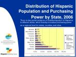 distribution of hispanic population and purchasing power by state 2006