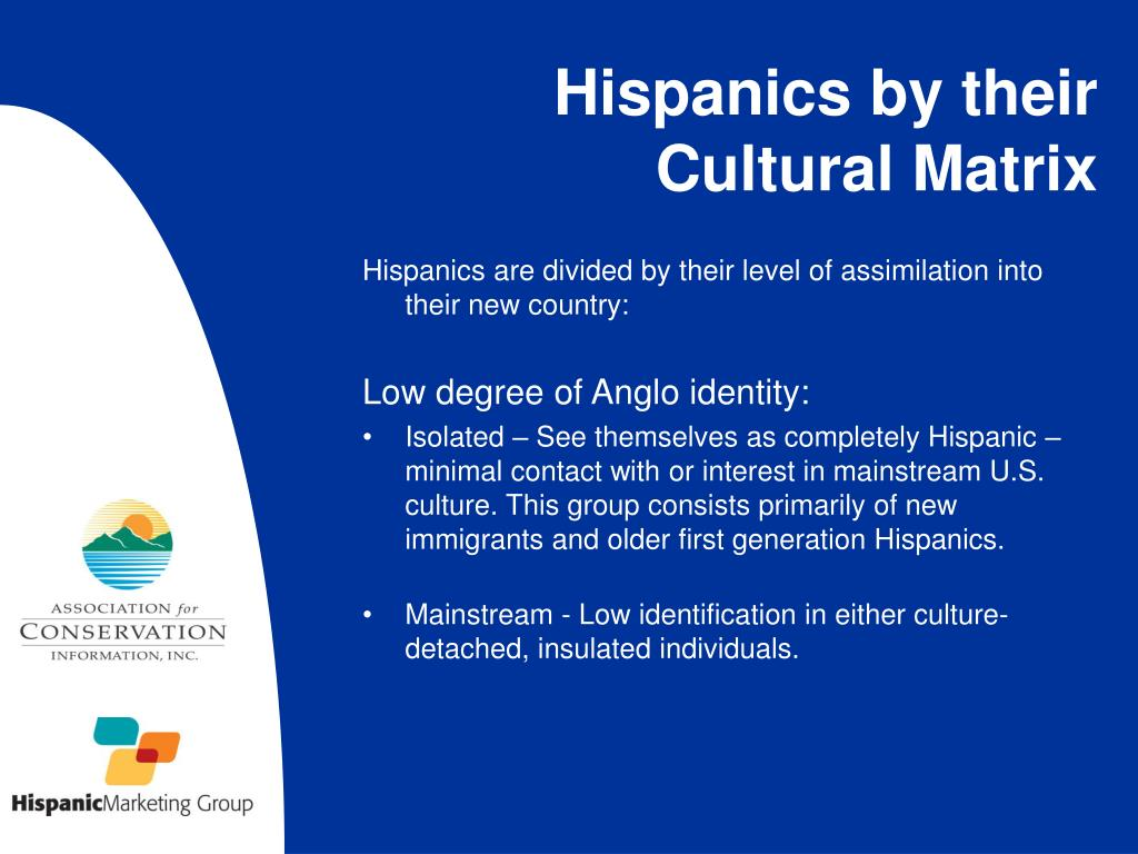 Hispanics are divided by their level of assimilation into their new country: