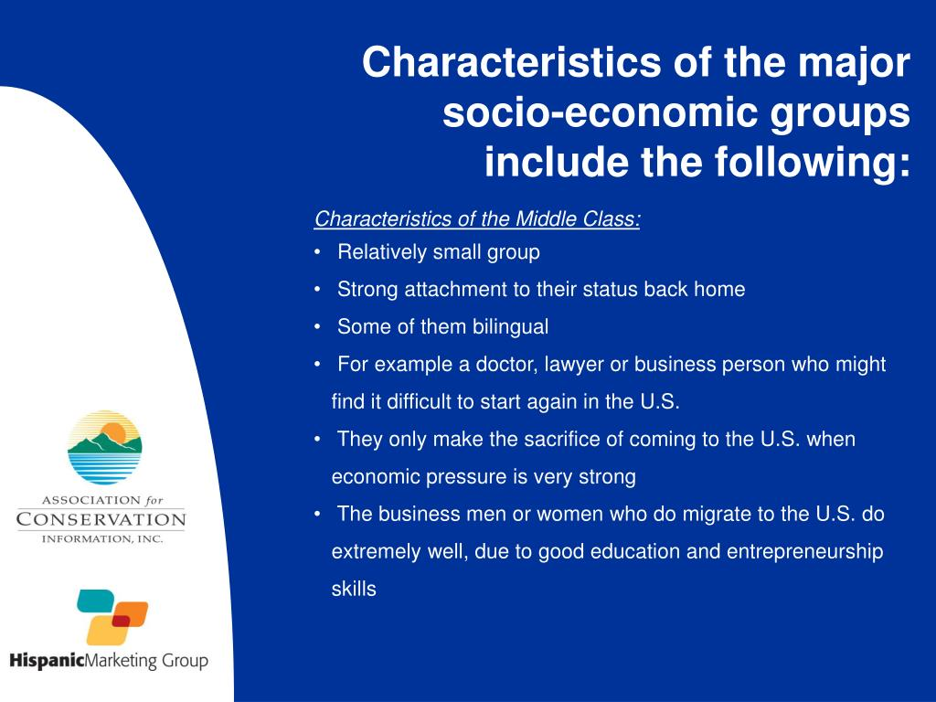 Characteristics of the major socio-economic groups include the following:
