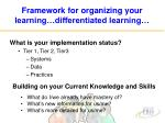 framework for organizing your learning differentiated learning