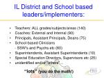 il district and school based leaders implementers