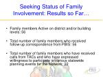seeking status of family involvement results so far