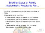 seeking status of family involvement results so far25