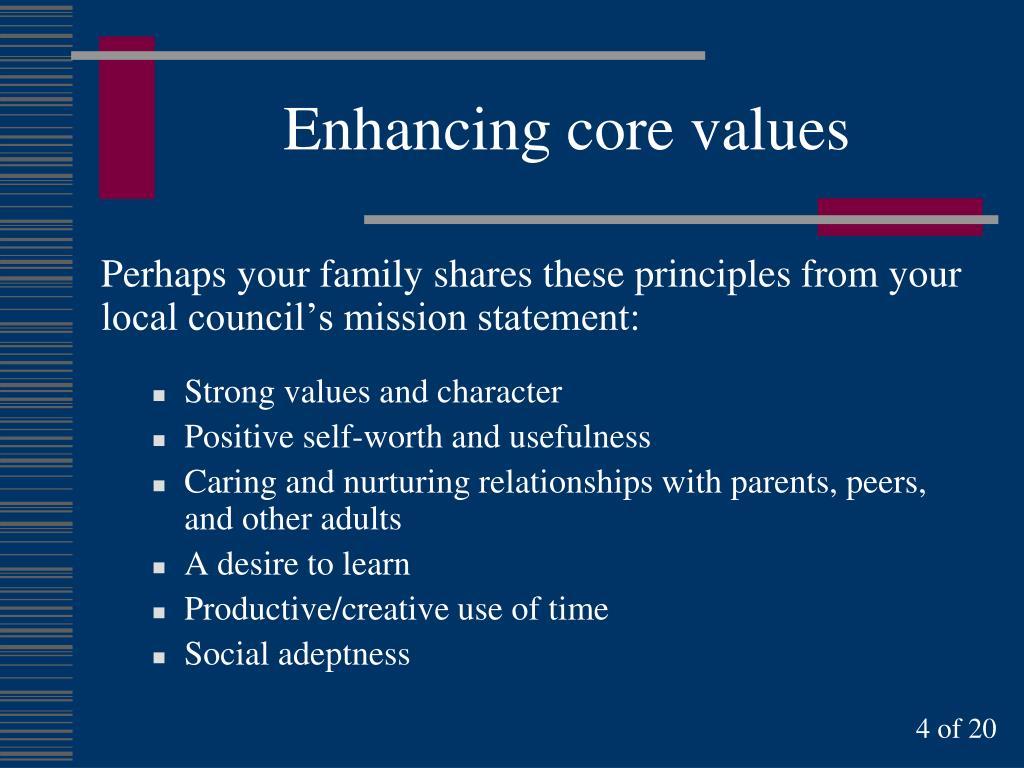 Enhancing core values