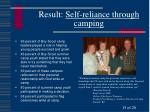 result self reliance through camping