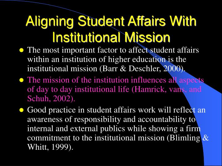 Aligning student affairs with institutional mission