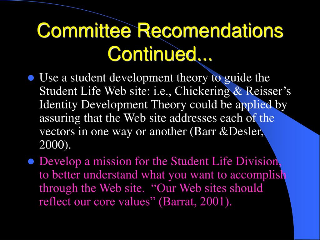 Committee Recomendations Continued...
