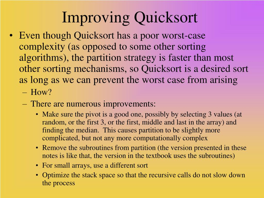 Improving Quicksort
