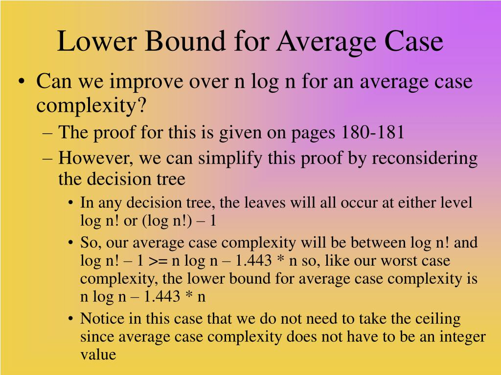 Lower Bound for Average Case