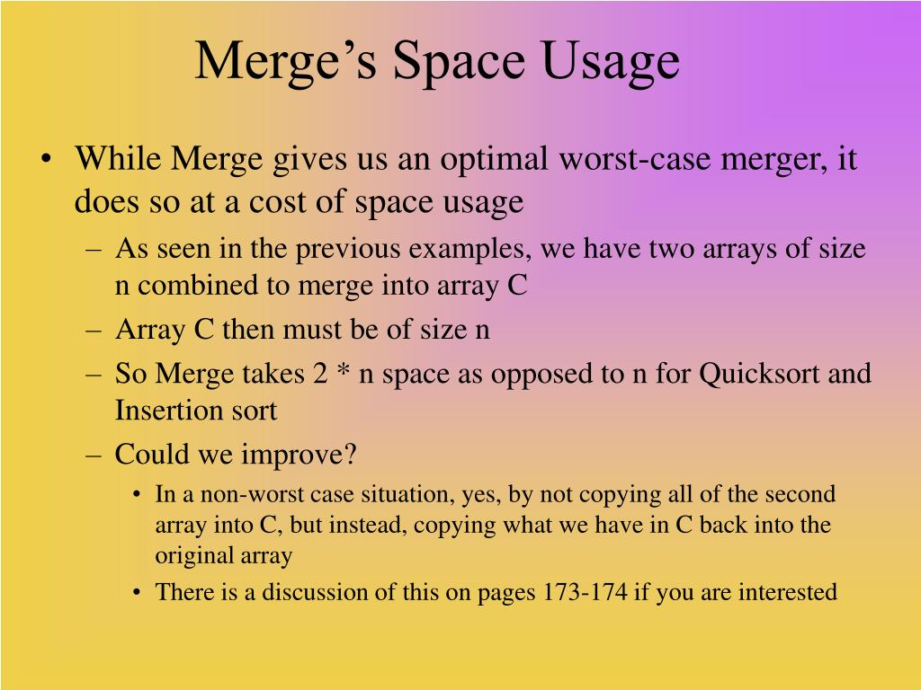 Merge's Space Usage