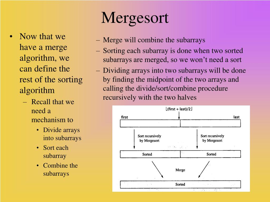 Now that we have a merge algorithm, we can define the rest of the sorting algorithm