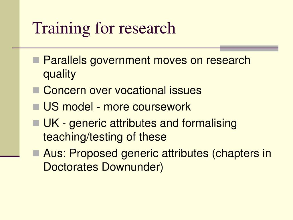 Training for research