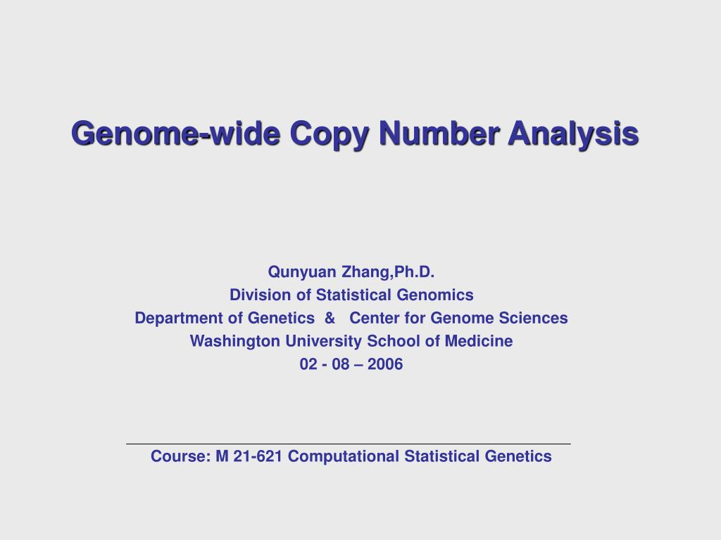 genome wide copy number analysis l.