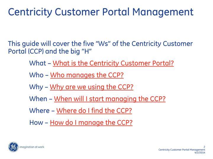 Centricity customer portal management2