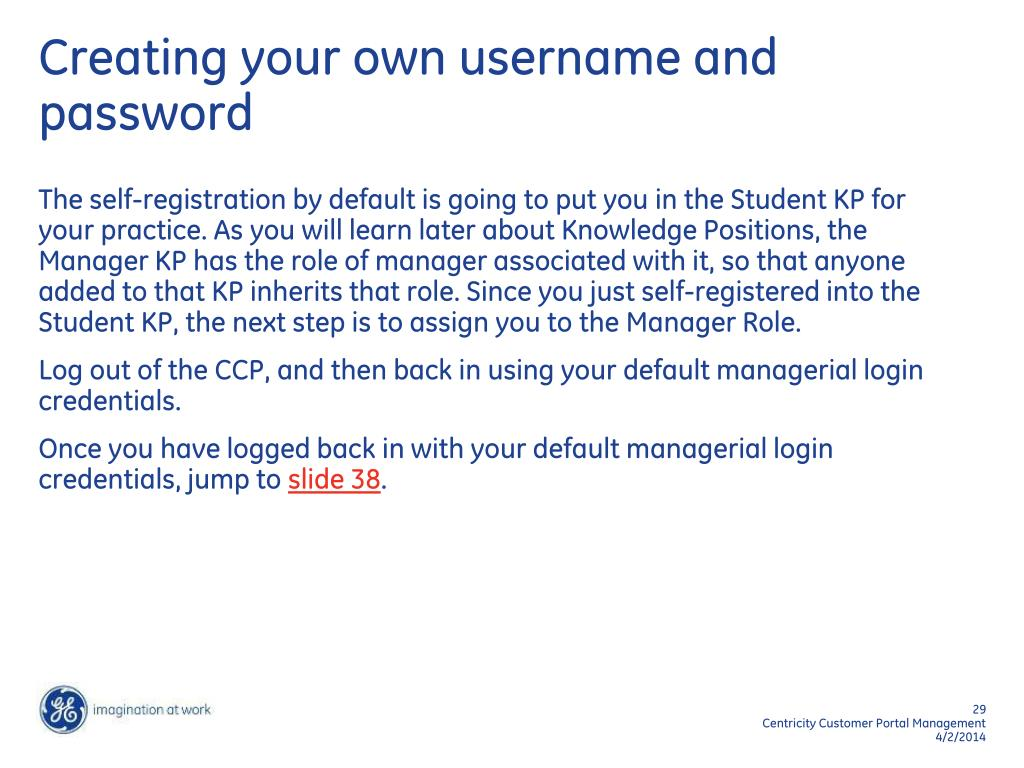 Creating your own username and password