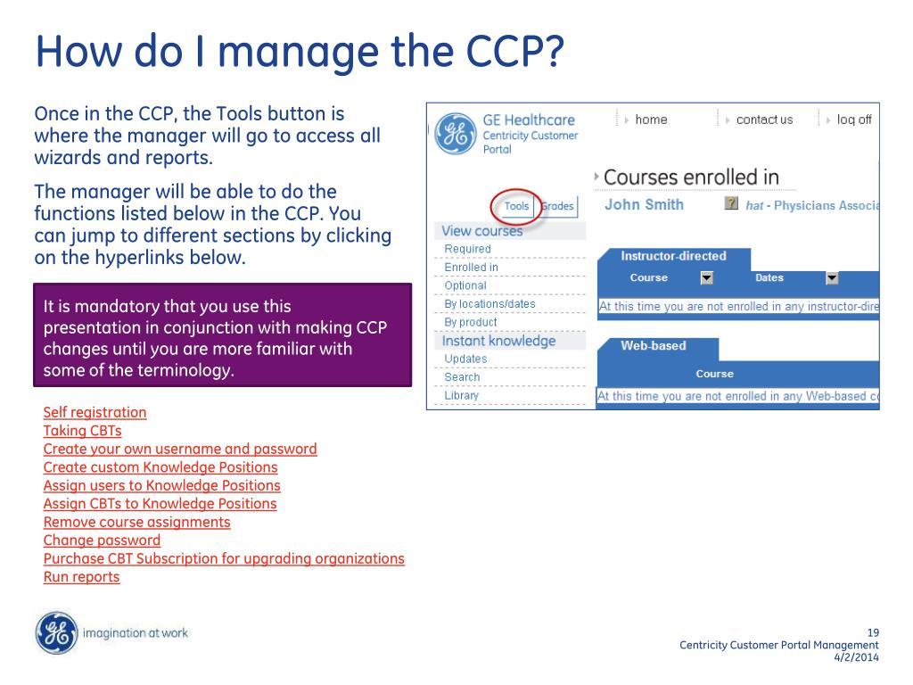 How do I manage the CCP?