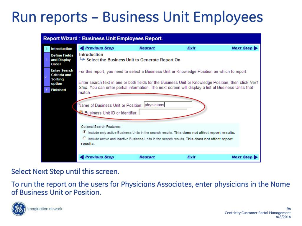 Run reports – Business Unit Employees