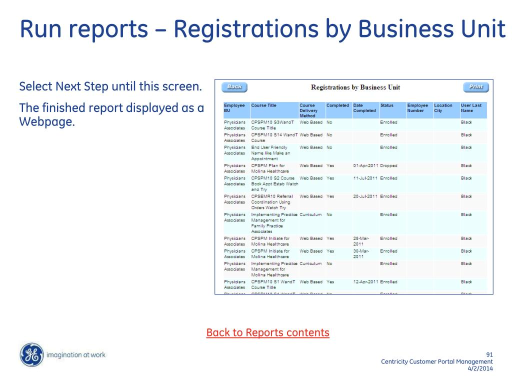 Run reports – Registrations by Business Unit