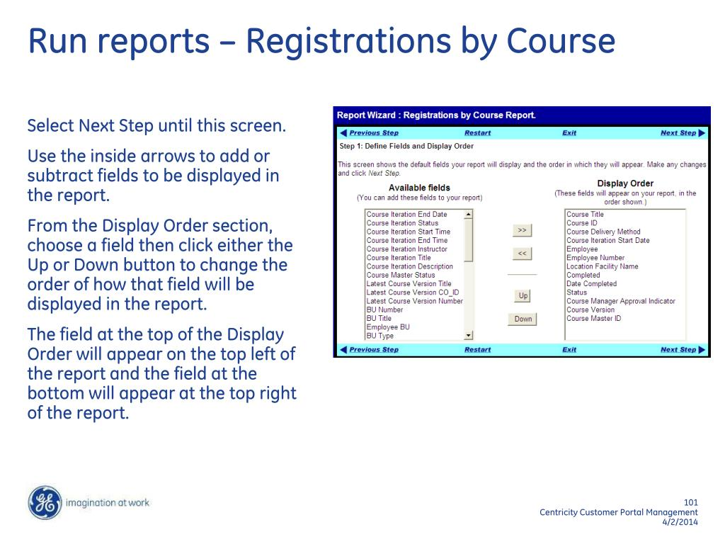 Run reports – Registrations by Course