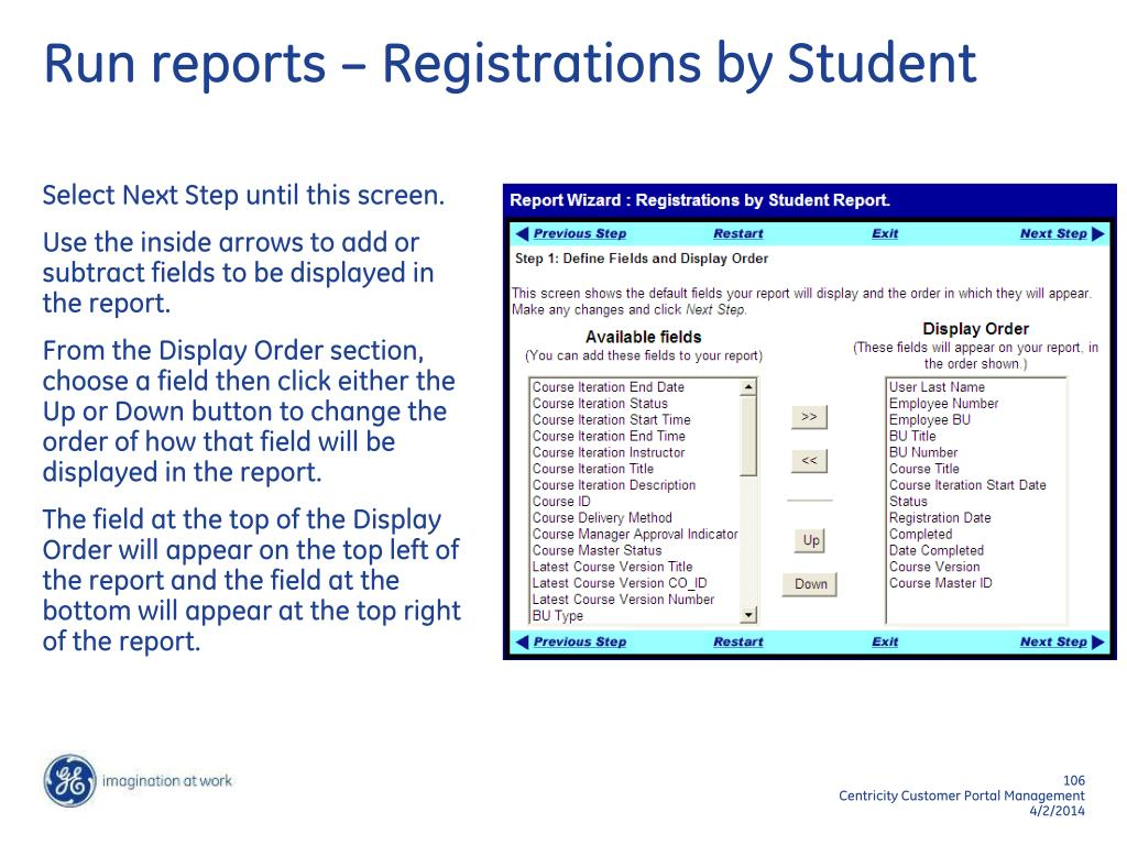 Run reports – Registrations by Student