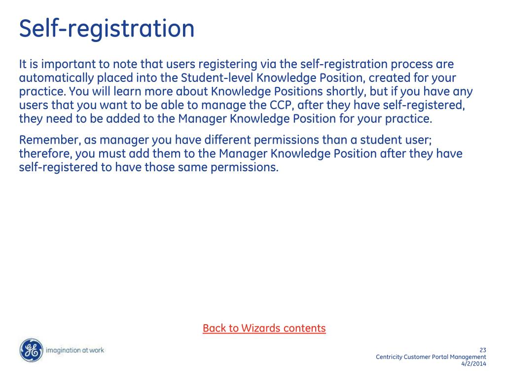 Self-registration