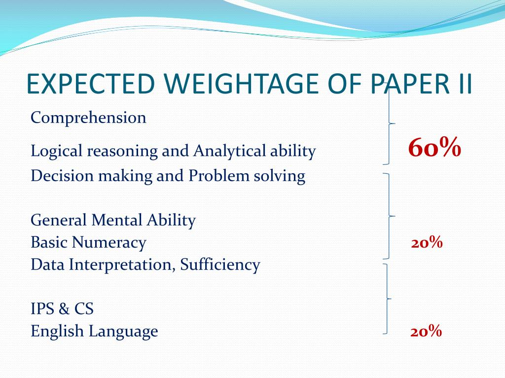 EXPECTED WEIGHTAGE OF PAPER II