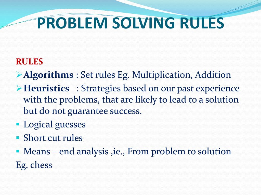 PROBLEM SOLVING RULES