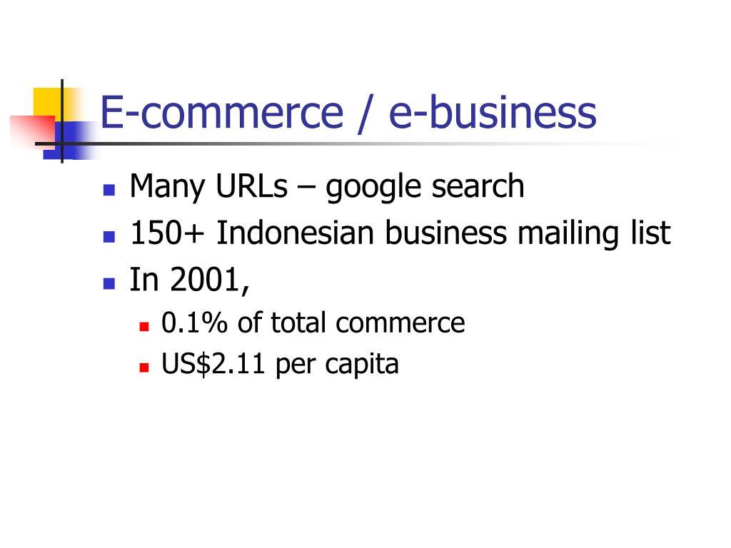 E-commerce / e-business