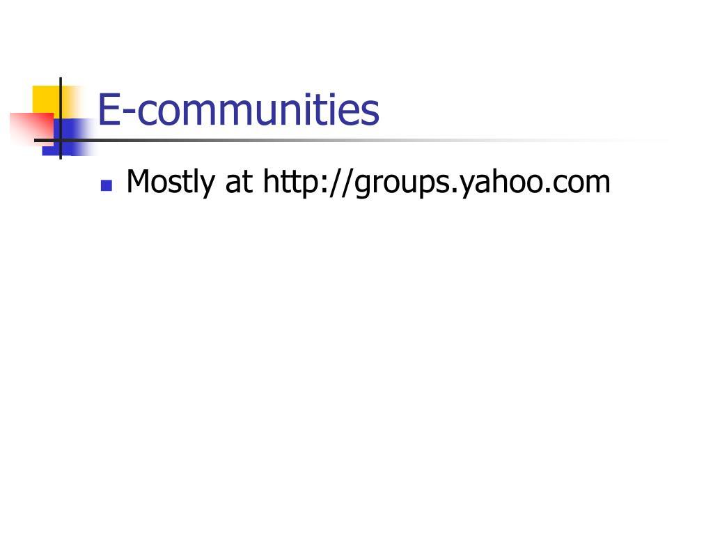 E-communities