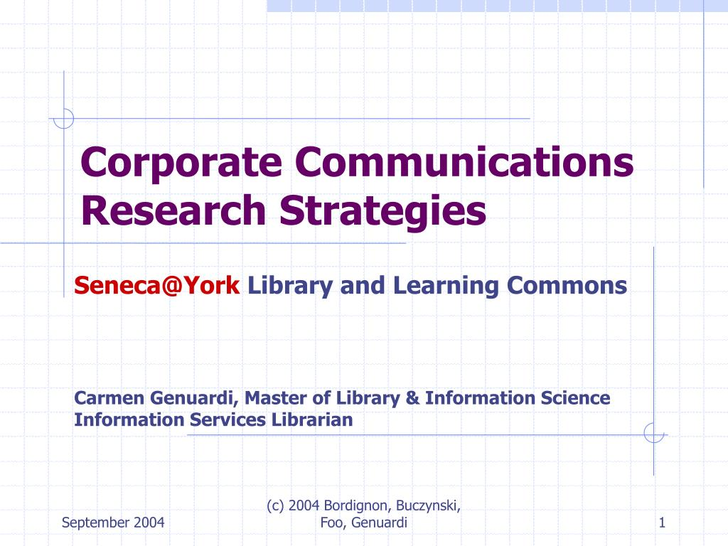 corporate communications research strategies l.