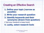 creating an effective search