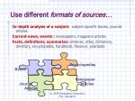 use different formats of sources
