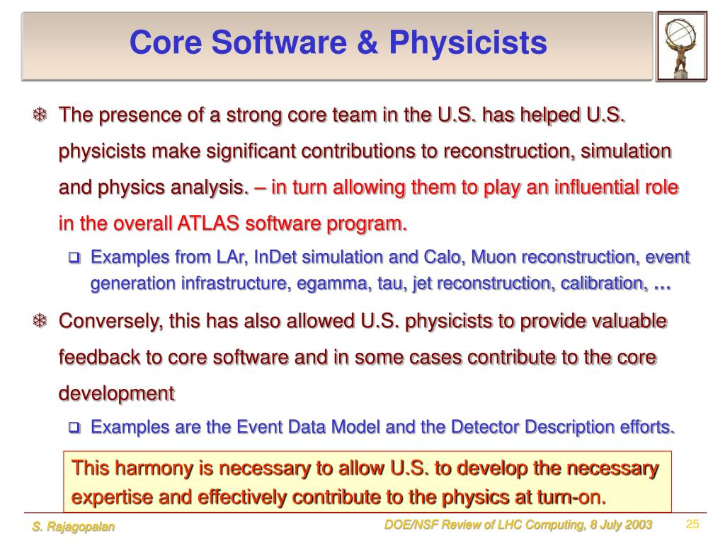 Core Software & Physicists