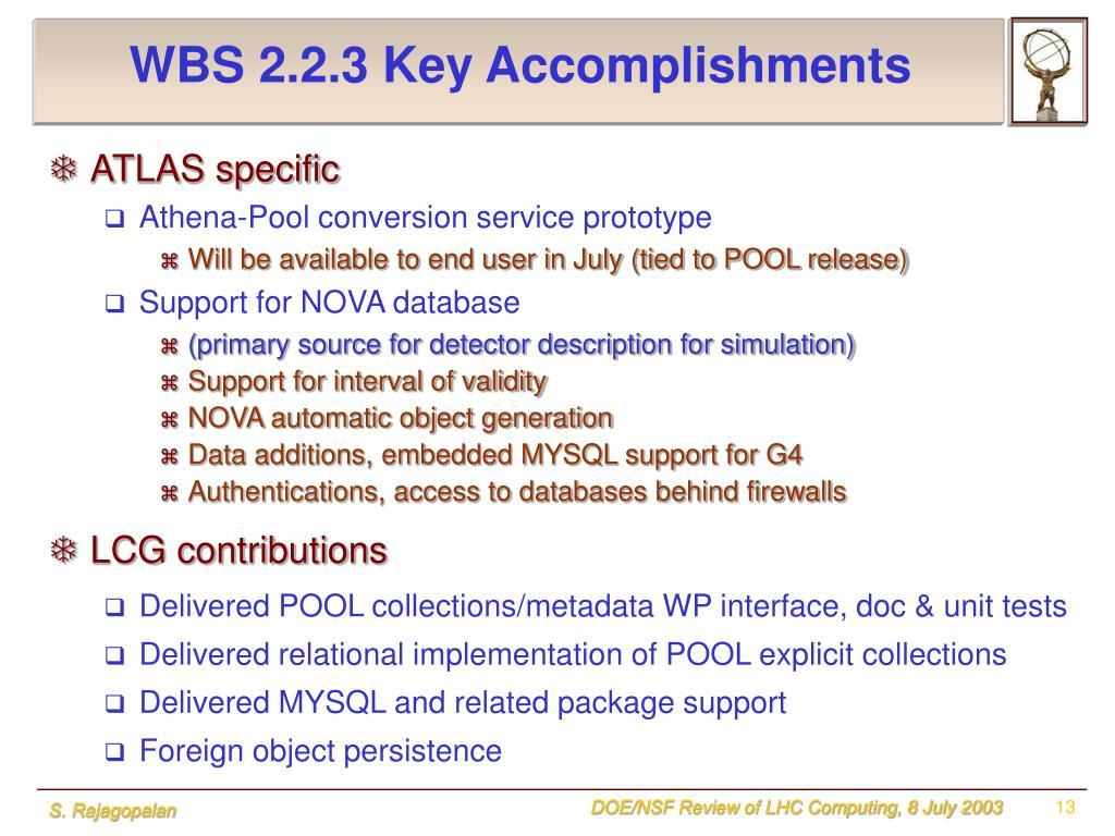 WBS 2.2.3 Key Accomplishments
