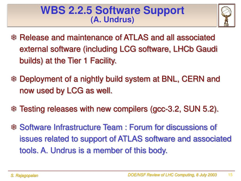 WBS 2.2.5 Software Support