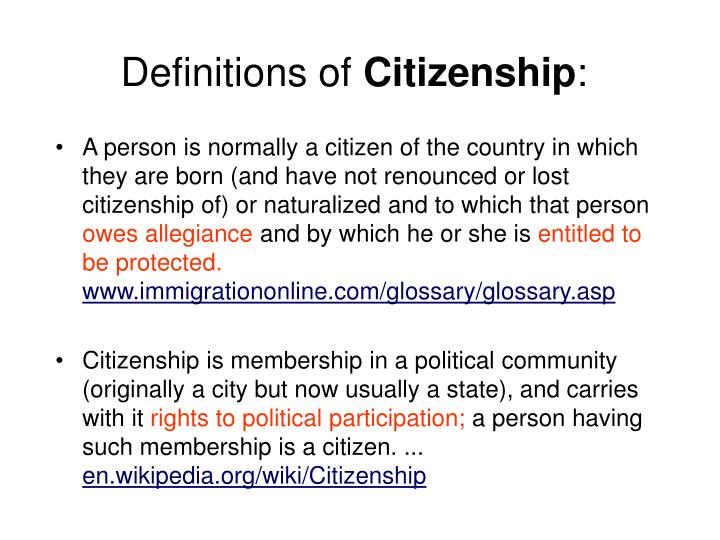 Definitions of citizenship