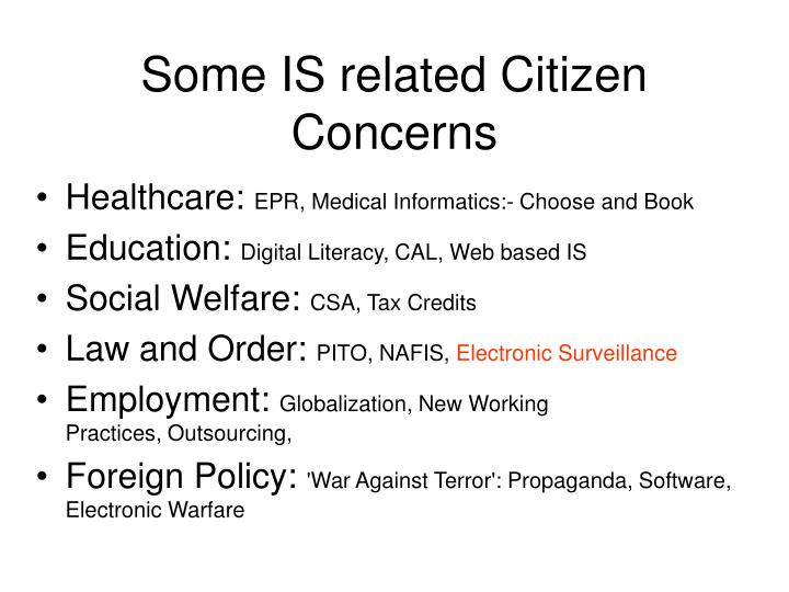Some is related citizen concerns