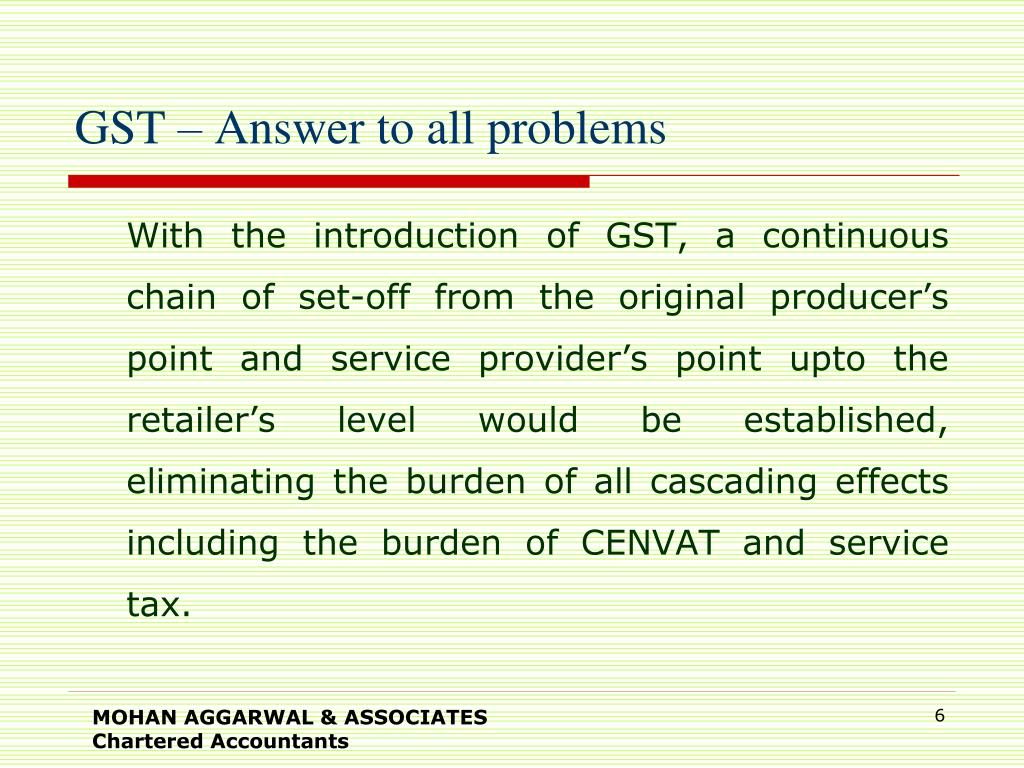 GST – Answer to all problems