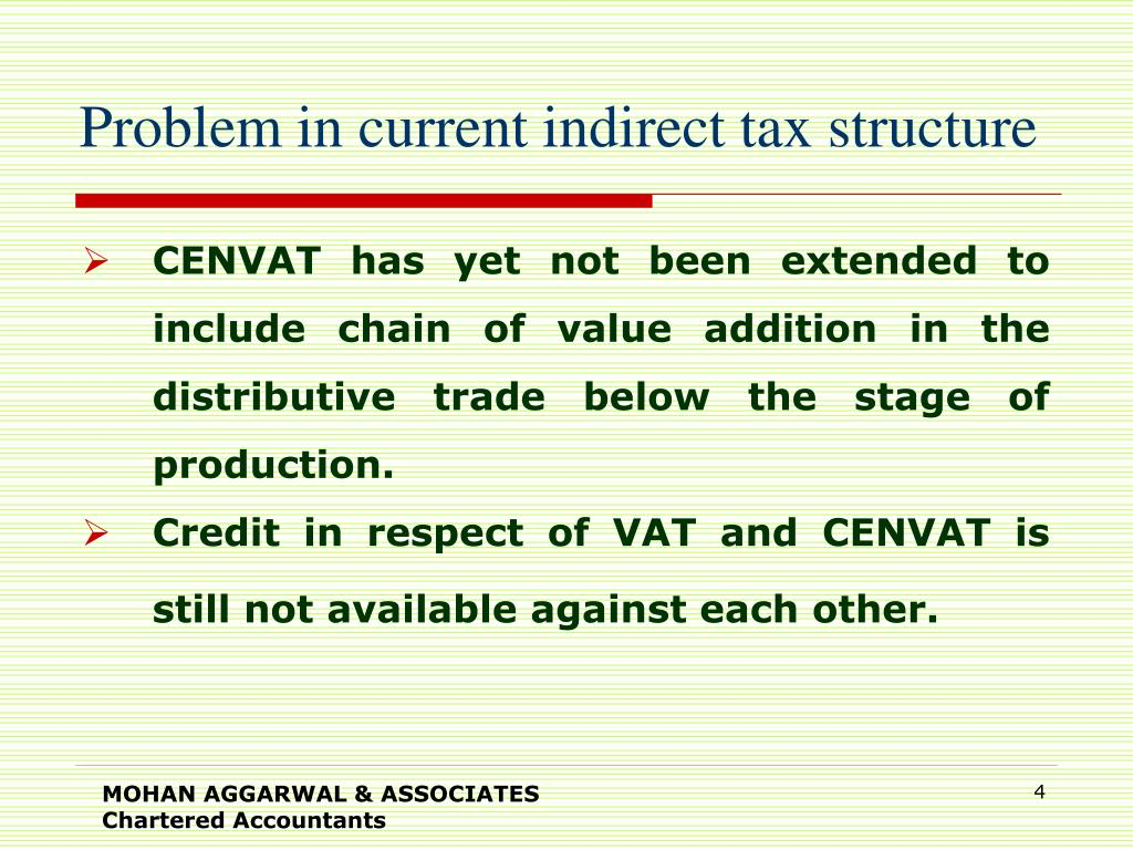 Problem in current indirect tax structure